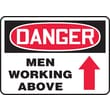 Accuform Signs® 10in. x 14in. Adhesive Vinyl Safety Sign in.DANGER MEN WORKING ABOV..in., Red/Black On White