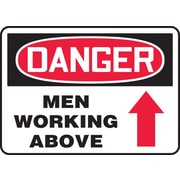 "Accuform Signs® 10"" x 14"" Adhesive Vinyl Safety Sign ""DANGER MEN WORKING ABOV.."", Red/Black On White"