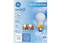53 Watt GE reveal® Halogen A19 Light Bulb, Soft White, 2/Pack