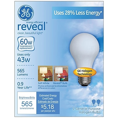43 Watt GE reveal Halogen A19 Light Bulb, Soft White, 2/Pack