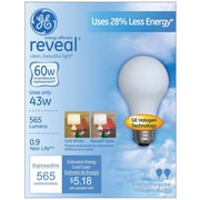 43 Watt GE reveal® Halogen A19 Light Bulb, Soft White, 2/Pack