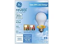 43 Watt GE reveal® Halogen A19 Light Bulb, Soft White, 2/Pack