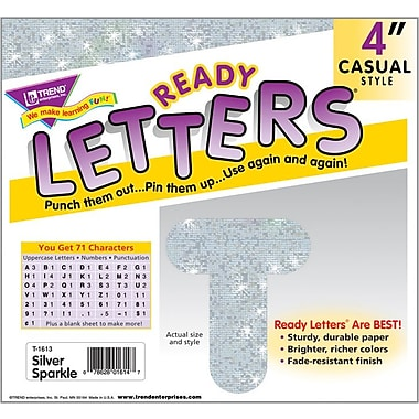 TREND Silver Sparkle 4 - Inch Casual Uppercase Ready Letters®