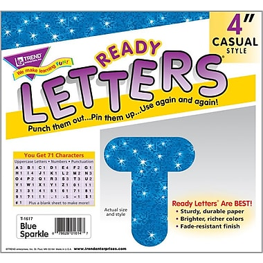 TREND Blue Sparkle 4 - Inch Casual Uppercase Ready Letters®