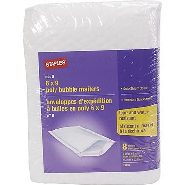 StaplesMD – Enveloppes d'expédition poly à bulles blanches QuickStrip, n° 0, 6 x 9 po, 8/pqt
