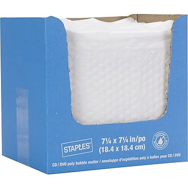 Staples® QuickStrip Bubble Wrap Lined White Poly Protective Mailer, CD/DVD, 7 1/4