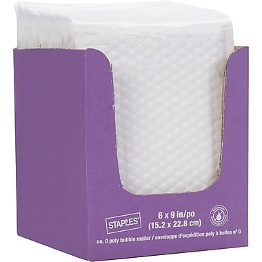 Staples® QuickStrip Bubble Wrap Lined White Poly Protective Mailer, #0, 6