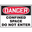 Accuform Signs® 10in. x 14in. Plastic Confined Space Sign in.DANGER CONFINED SPACE..in., Red/Black On White