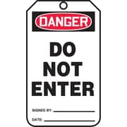 Accuform Signs® 5 3/4 x 3 1/4 PF-Cardstock Safety Tag DANGER DO NOT ENTER, Red/Black On White