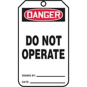 "Accuform Signs® 5 3/4"" x 3 1/4"" RP-Plastic Safety Sign ""DANGER DO NOT OPERATE"", Red/Black On White"