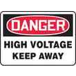 Accuform Signs® 10in. x 14in. Aluminum Electrical Sign in.DANGER HIGH VOLTAGE KEEP..in., Red/Black On White