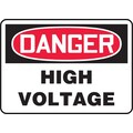 Accuform Signs® 7in. x 10in. Plastic Electrical Sign in.DANGER HIGH VOLTAGEin., Red/Black On White