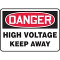 Accuform Signs® 7in. x 10in. Aluminum Electrical Sign in.DANGER HIGH VOLTAGE KEEP..in., Red/Black On White