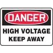 Accuform Signs® 7in. x 10in. Vinyl Electrical Sign in.DANGER HIGH VOLTAGE KEEP..in., Red/Black On White