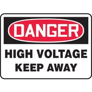 """Accuform Signs® 7"""" x 10"""" Plastic Electrical Sign """"DANGER HIGH VOLTAGE KEEP.."""", Red/Black On White"""