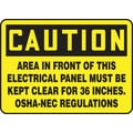 Accuform Signs® 10in. x 14in. Vinyl Safety Sign in.CAUTION AREA IN FRONT OF THIS..in., Black on Yellow