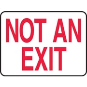 "Accuform Signs® 7"" x 10"" Adhesive Vinyl Safety Sign ""NOT AN EXIT"", Red On White"