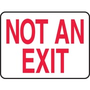 "Accuform Signs® 10"" x 14"" Adhesive Vinyl Safety Sign ""NOT AN EXIT"", Red On White"