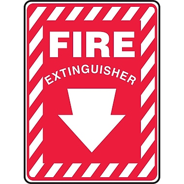 Accuform Signs® 10in. x 7in. Aluminum Fire Safety Sign in.FIRE EXTINGUISHER (ARROW)in., White On Red