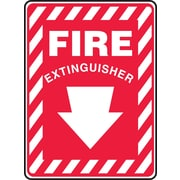 "Accuform Signs® 10"" x 7"" Aluminum Fire Safety Sign ""FIRE EXTINGUISHER (ARROW)"", White On Red"