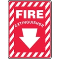 Accuform Signs® 14in. x 10in. Plastic Fire Safety Sign in.FIRE EXTINGUISHER (ARROW)in., White On Red