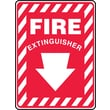 "Accuform Signs® 14"" x 10"" Vinyl Fire Safety Sign ""FIRE EXTINGUISHER (ARROW)"", White On Red"
