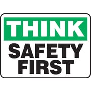 "Accuform Signs® 10"" x 14"" Adhesive Vinyl Safety Incentive Sign ""THINK SAFET.."", Green/Black On White"