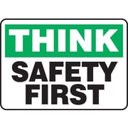 "Accuform Signs® 7"" x 10"" Adhesive Vinyl Safety Incentive Sign ""THINK SAFET.."", Green/Black On White"