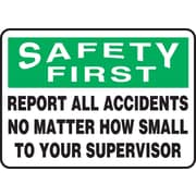 "Accuform Signs® 7"" x 10"" Adhesive Vinyl Safety Incentive Sign ""SAFETY FIRS.."", Green/Black On White"