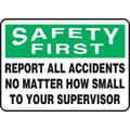 Accuform Signs® 10in. x 14in. Plastic Safety Incentive Sign in.SAFETY FIRS..in., Green/Black On White