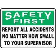 "Accuform Signs® 10"" x 14"" Adhesive Vinyl Safety Incentive Sign ""SAFETY FIRS.."", Green/Black On White"