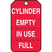 "Accuform Signs® 5 3/4"" x 3 1/4"" RP-Plastic Cylinder Tag ""CYLINDER EMPTY IN USE/FULL"", White On Red"