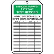 "Accuform Signs® 5 3/4"" x 3 1/4"" RP-Plastic Equipment Status Tag ""EMERGENCY.."", Green/Black On White"