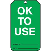 "Accuform Signs® 5 3/4"" x 3 1/4"" RP-Plastic Status Tags ""OK TO USE"", White/Black On Green"