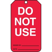 Accuform Signs® 5.75 x 3.25 RP-Plastic Status Tags DO NOT.., White/Black On Red