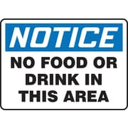 "Accuform Signs® 7"" x 10"" Adhesive Vinyl Housekeeping Sign ""NOTICE NO FOOD.."", Blue/Black On White"