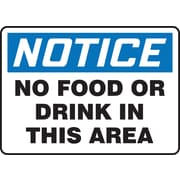 "Accuform Signs® 10"" x 14"" Adhesive Vinyl Housekeeping Sign ""NOTICE NO FOOD.."", Blue/Black On White"