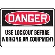 "Accuform Signs® 7"" x 10"" Plastic Safety Sign ""DANGER USE LOCKOUT BEFORE.."", Red/Black On White"
