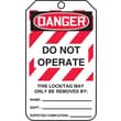Accuform Signs® 5 3/4in. x 3 1/4in. PF-Cardstock Lockout Tag in.DANGER..BE REMOVED BYin., Red/Black On White