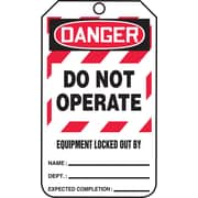 "Accuform Signs® 5 3/4"" x 3 1/4"" RP-Plastic Lockout Tag ""DANGER..LOCKED OUT BY"", Red/Black On White"