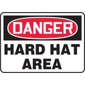 Accuform Signs® 7in. x 10in. Vinyl PPE Safety Sign in.DANGER HARD HAT AREAin., Red/Black On White