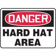 "Accuform Signs® 10"" x 14"" Vinyl PPE Safety Sign ""DANGER HARD HAT AREA"", Red/Black On White"
