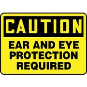 "Accuform Signs® 10"" x 14"" Vinyl Safety Sign ""CAUTION EAR AND EYE PROTECTION.."", Black On Yellow"