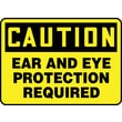 Accuform Signs® 7in. x 10in. Aluminum Safety Sign in.CAUTION EAR AND EYE PROTECTION..in., Black On Yellow
