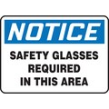 Accuform Signs® 7in. x 10in. Aluminum Safety Sign in.NOTICE SAFETY GLASSES..in., Blue/Black On White