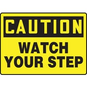 "Accuform Signs® 10"" x 14"" Adhesive Vinyl Fall Arrest Sign ""CAUTION Watch Your Step"", Black On Yellow"