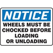 "Accuform Signs® 7"" x 10"" Aluminum Safety Sign ""NOTICE WHEELS MUST BE CHOCKED.."", Blue/Black On White"