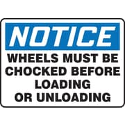 Accuform Signs® 10 x 14 Vinyl Safety Sign NOTICE WHEELS MUST BE CHOCKED.., Blue/Black On White