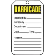 "Accuform Signs® 5 3/4"" x 3 1/4"" RP-Plastic Barricade Tag ""BARRICADE"", Yellow/Black On White"