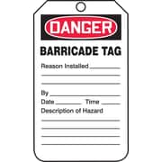 Accuform Signs® 5 3/4 x 3 1/4 RP-Plastic Barricade Tag DANGER BARRICADE.., Red/Black On White